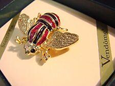 VINTAGE VENDOME RED BLACK ENAMEL BUMBLE BEE FIGURAL SCATTER PIN ORIGINAL BOX