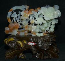 "14.4""China Natural Green Xiu Jade Carved Feng Shui Gourds Ruyi Auspicious Statue"