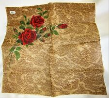 "Gorgeous Stemmed Red Roses Vintage Handkerchief 12"" x 12 1/2"" Hand Rolled Mint!"