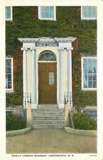 Portsmouth New Hampshire~Public Library Doorway~Hours Posted~1920s Postcard
