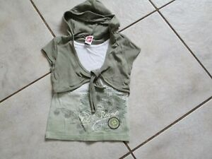 schönes T-Shirt HERE& THERE by C&A Gr.122/128 beige khaki Kapuze