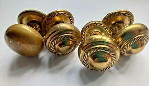 Lot of 4 vintage antique brass Drawer / Cabinet round brass Door knobs