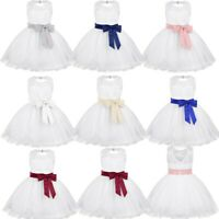 Baby Flower Girls Dress Pageant Wedding Bridesmaid Baptism Dress Rose Bow Gown