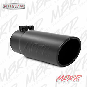 """MBRP EXHAUST TIP 3"""" INLET 3.5"""" OUTLET 10"""" LENGTH ANGLE ROLLED BLACK T5115BLK"""