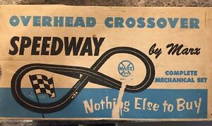 MARX OVERHEAD CROSSOVER SPEEDWAY COMPLETE MECHANICAL RACE SET #2070 WITH BOX