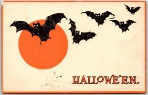 Vintage GIBSON HALLOWEEN Postcard Bats / Full Moon - 1913 Wash DC Cancel