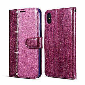 New Crystal Diamond Leather Wallet Case Cover For Samsung S9 Plus-Purple/Pink