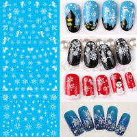 11Pcs/Set White Snow Flower Christmas Water Transfer Decals Nail Art Stickers SL