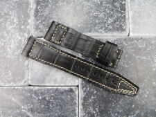 20mm TOP GUN Black Gator Grain LEATHER STRAP Watch Band White Stitch IWC PILOT
