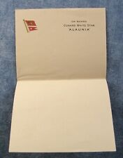 ON BOARD CUNARD WHITE STAR ALAUNIA * PAGE OF WRITING PAPER * SHIPS FLAGS