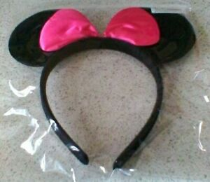 Black Mouse Ears With Plain Coloured Bow on an Alice Band