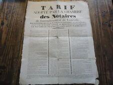 AFFICHE TARIF ADOPTE PAR CHAMBRE DES NOTAIRES DE LUNEVILLE 1828 43X54