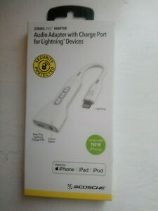 SCOSCHE  AUDIO  ADAPTER WITH CHARGE  PORT   IPHONE   IPAD  IPOD  FITS NEW IPHONE
