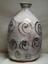 Large Mid-Century Mod Hand Turned Stoneware Swirl Motif Vase by Roy, Dated 1969