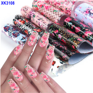 10Pcs 20X4cm Perfect Rose Flower Love Valentine Day Nail Foil Transfer Sticker