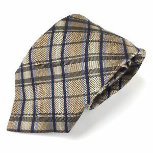 Jos A Bank Signature Collection Gold/Blue/Black Herringbone/Plaid Silk Neck Tie
