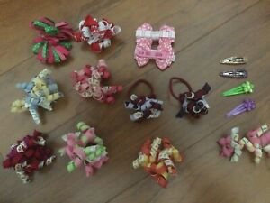 Gymboree Hair Accessories Large Lot Curly Bows Pony O's Clips 9 Pairs 5 Singles
