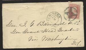 Rare Civil War Fancy Cancel Cover to General John G Barnard at Grant's HQ!