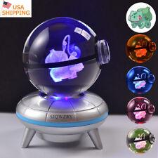 Pokemon Elf Bulbasaur Pokeball 3D LED Crystal Night Light Table Lamp Crafts Gift