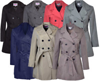 Vicky Smith Women's New Double Breasted Ladies Mac Trench Winter Jacket Coat