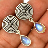 Spiral - Rainbow Moonstone - India 925 Silver Earrings Jewelry AE96943 157H