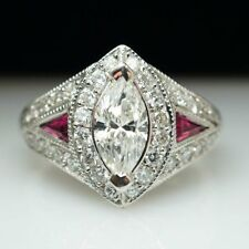 3.01CT MARQUISE CUT SIDE PINK SAPPHIRE & DIAMOND ENGAGEMENT RING STERLING SILVER