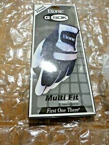 New Etonic Men G-Sok Multi-Fit Golf Glove White/Black Left Island Thumb One Size