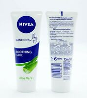 2 x Nivea Soothing Care Aloe Vera Hand Cream 75ml Each Ladies Skin Care