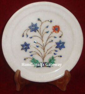 """Gorgeous Handmade Marble Inlay Plate, 7"""" Inch Decorative Marble Inlay Plates"""