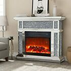 Mirrored Electric Fireplace, Fireplace Mantel Freestanding Heater Firebox with