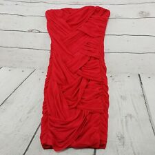 Asos Dress Size 4 Womens Red Strapless Sleeveless Mesh Sexy Cocktail Dress Used