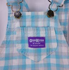 Vtg Oshkosh Bgosh Overalls Girls 6 80s Blue White Plain 100% Cotton  USA