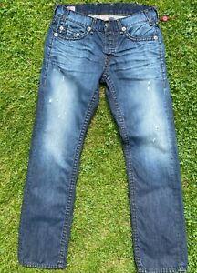 Men's True Religion dark blue Logan Super T straight leg denim jeans 34 x 35