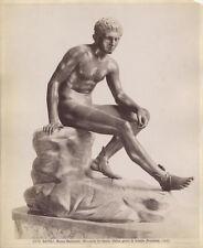 ALBUMEN PHOTO OF ROMAN STATUE HERMES IN REST - NAPLES MUSEUM