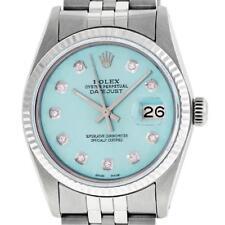 Rolex Mens 36mm Stainless Steel Ice Blue Diamond Datejust Wristwatch Lot 261