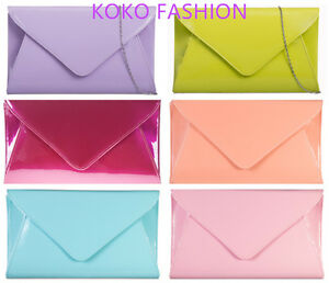 Large Patent Evening Clutch Handbag Party Prom Wedding Bags Purse  5090