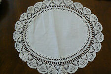 VTG white linen Table  Doily Lace Dresser  Decorative hand crochet oval