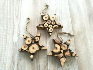 Hanging Star Christmas Decorations, Log Slice, Handmade, Fair Trade