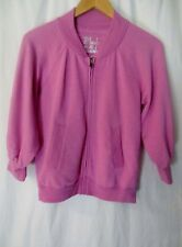 Victoria's Secret Plush Lush Pink Sweatshirt Small S 3/4 Sleeve Zip Front Soft