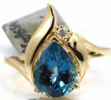 Yellow Gold Right Hand Cocktail Ring Blue Topaz London Blue with Diamonds 14K