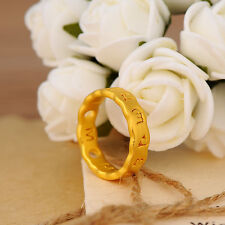 NEW Authentic 24K Yellow Gold Charming 6 Bless Words Ring Size: 6