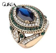 HOT Luxury Men's Woman Gold Inlaid multicolor Stone Crystal Female Ring Size 10