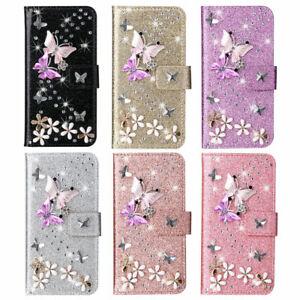 Diamond Butterfly Flip Phone Case For Xiaomi Redmi Note 7 8 9 10 Pro X3 1+7 Pro