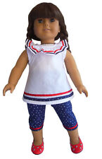 """Patriotic Capris & Swing Top Made For 18"""" American Girl Doll Clothes"""