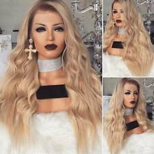 Womens Ladies Ombre Blonde Long Curly Wigs Natural Full Wavy Cosplay Wig MO