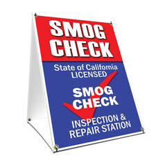 A-frame Sidewalk Sign Smog Check With Graphics On Each Side