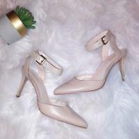 Nine West Womens Shoes Pumps Size 9.5 Cream Ankle Strap