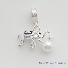 Shiny Silver Plate 3D Elephant Carrying Pearl Charm fit European Charm Bracelet