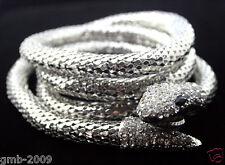 Hot Selling Silver Tone Sexy Luxury Long Snake Rhinestone Bib Necklace