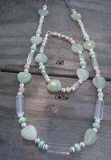 HDMD by Cyndi Necklace Bracelet of Green Aventurine Hearts & Freshwater Pearls